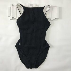 Ralph Lauren Black Textured One Piece Swimsuit